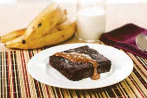 MIC Food Flourless Sweet Plantain Brownie with caramel and sea salt