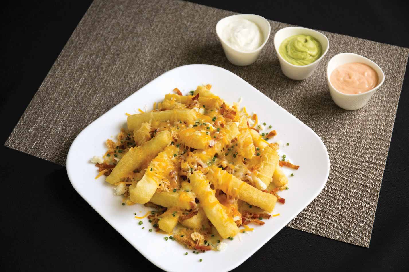 MIC Food Loaded Yuca Cheese Fries with Dipping Sauces
